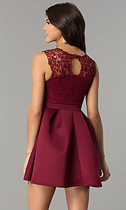 Image of short lace-bodice party dress with scuba skirt. Style: DC-D44469 Back Image