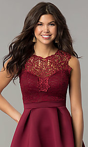 Image of short lace-bodice party dress with scuba skirt. Style: DC-D44469 Detail Image 1