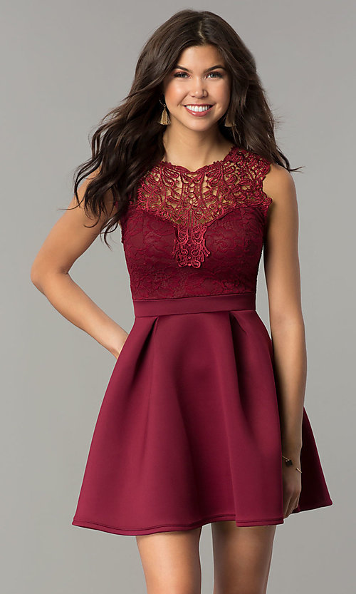 Image of short lace-bodice party dress with scuba skirt. Style: DC-D44469 Detail Image 2