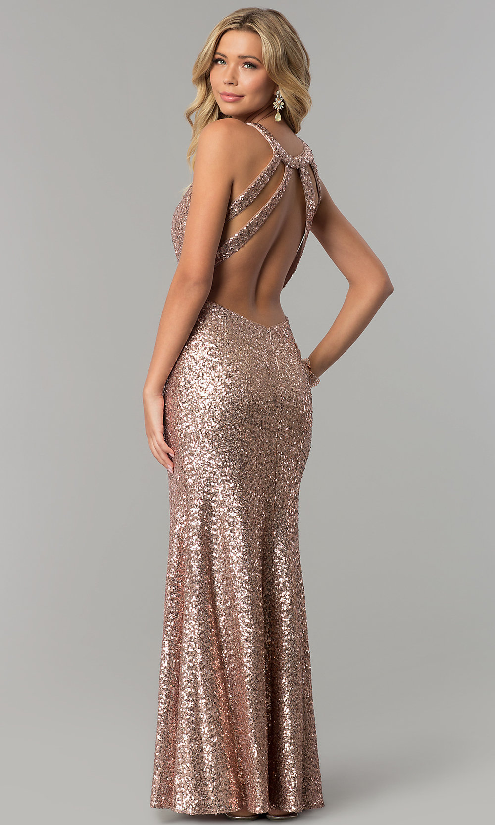 Open-Back Long Rose Gold Sequin Prom Dress - PromGirl