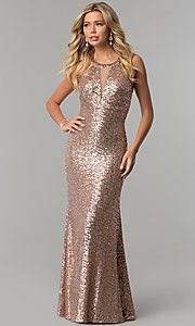 Image of long sequin prom dress with caged-style open back. Style: MO-12474 Back Image