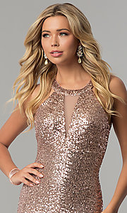 Image of long sequin prom dress with caged-style open back. Style: MO-12474 Detail Image 1