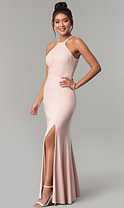 Image of jersey long prom dress with glitter-lace bodice. Style: MO-12488 Front Image