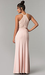 Image of jersey long prom dress with glitter-lace bodice. Style: MO-12488 Back Image