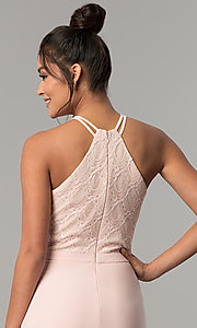 Image of jersey long prom dress with glitter-lace bodice. Style: MO-12488 Detail Image 2