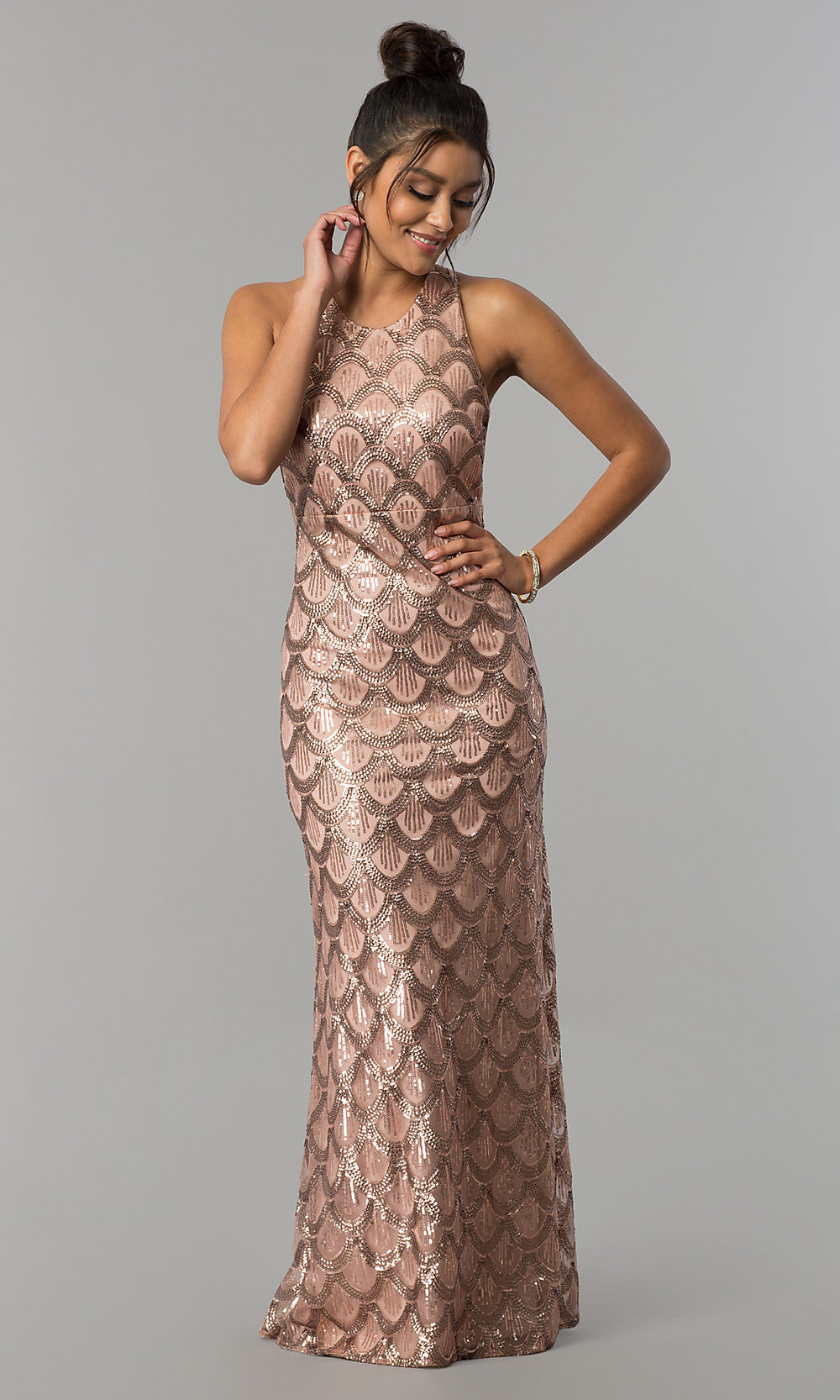 Rose Gold Sequin Print Long Prom Dress Promgirl