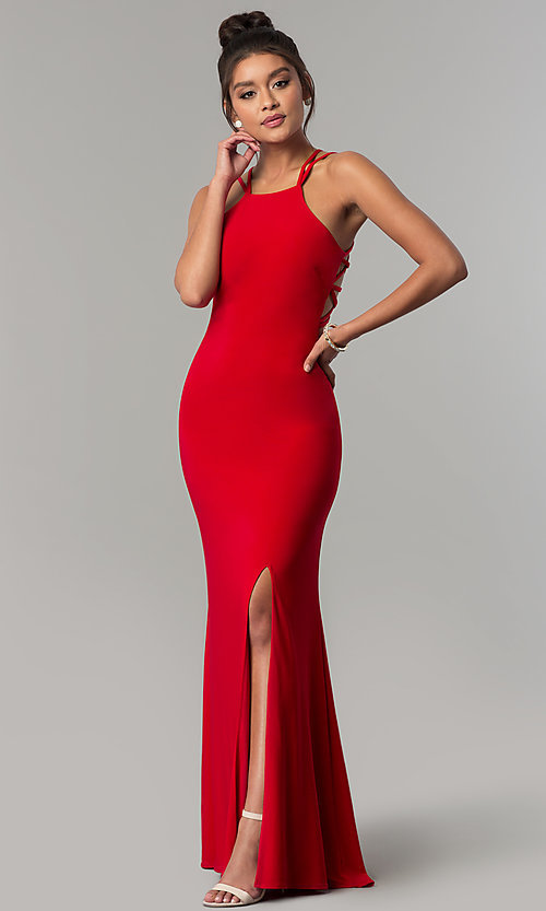 Image of strappy open-back long formal prom dress. Style: MO-12489 Back Image