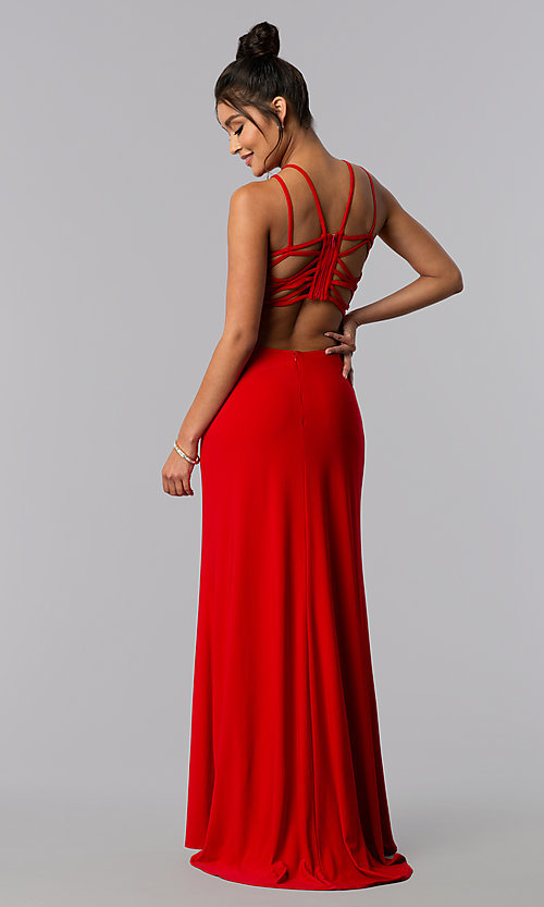 Image of strappy open-back long formal prom dress. Style: MO-12489 Front Image