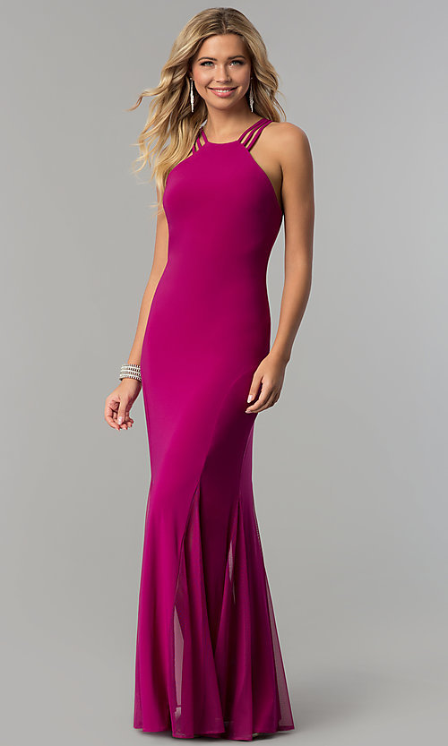 Image of berry pink long caged-back prom dress with godets. Style: MO-12497 Front Image