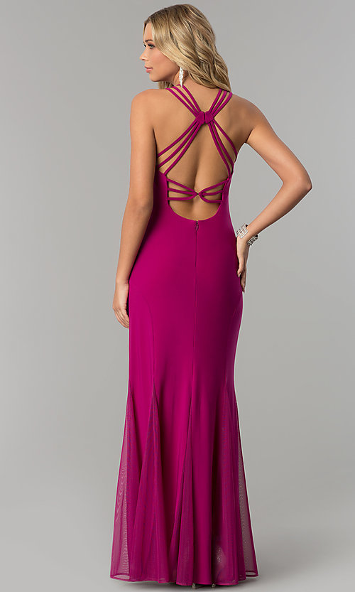 Image of berry pink long caged-back prom dress with godets. Style: MO-12497 Back Image