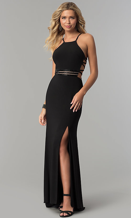 Caged-Open-Back Long Black Prom Dress - PromGirl
