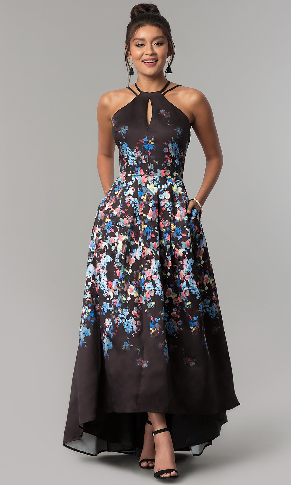 15c1619f8556 Floral-Print High-Low Prom Dress with Pockets-PromGirl