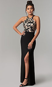 Image of long black prom dress with high-neck sequin bodice. Style: MO-21620 Front Image