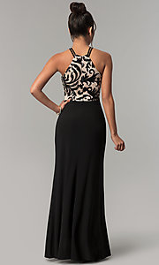 Image of long black prom dress with high-neck sequin bodice. Style: MO-21620 Back Image