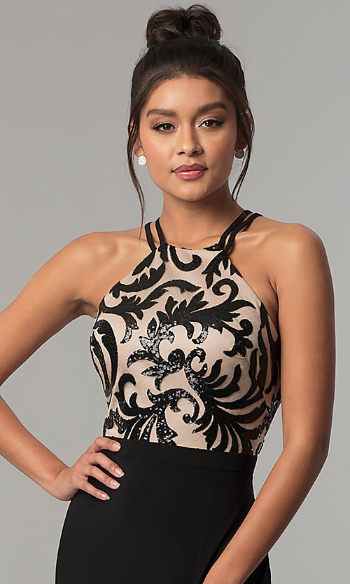 Image of long black prom dress with high-neck sequin bodice. Style: MO-21620 Detail Image 1