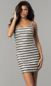 Image of short sequin-striped holiday sheath party dress. Style: JTM-JMD8046 Front Image