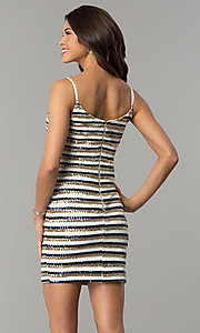 Image of short sequin-striped holiday sheath party dress. Style: JTM-JMD8046 Back Image