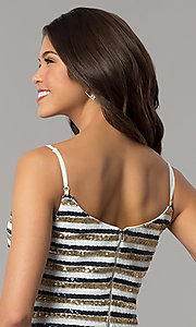 Image of short sequin-striped holiday sheath party dress. Style: JTM-JMD8046 Detail Image 2