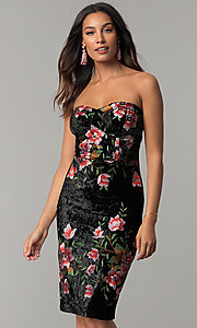 Velvet Black Party Dress with Floral Embroidery