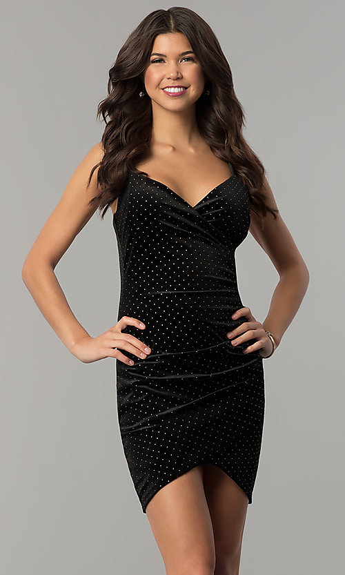 Image of gold-studded short black velvet holiday party dress. Style: JTM-JD8210 Front Image