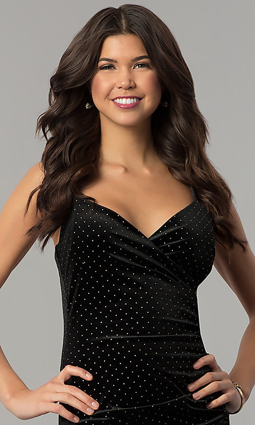 Image of gold-studded short black velvet holiday party dress. Style: JTM-JD8210 Detail Image 1