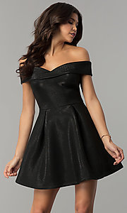 Image of off-the-shoulder black short glitter party dress. Style: JTM-JD8233 Front Image