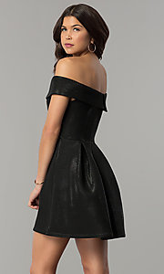 Image of off-the-shoulder black short glitter party dress. Style: JTM-JD8233 Back Image