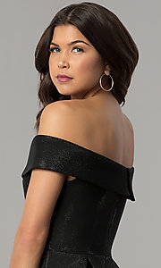Image of off-the-shoulder black short glitter party dress. Style: JTM-JD8233 Detail Image 2