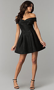Image of off-the-shoulder black short glitter party dress. Style: JTM-JD8233 Detail Image 3