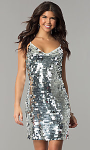 Image of short silver holiday party dress with large sequins. Style: JTM-JMD7776 Front Image