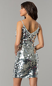 Image of short silver holiday party dress with large sequins. Style: JTM-JMD7776 Back Image