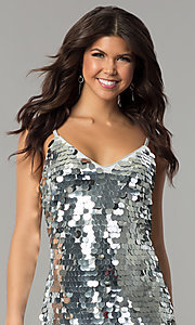 Image of short silver holiday party dress with large sequins. Style: JTM-JMD7776 Detail Image 1