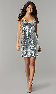 Image of short silver holiday party dress with large sequins. Style: JTM-JMD7776 Detail Image 2