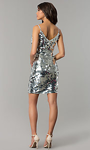 Image of short silver holiday party dress with large sequins. Style: JTM-JMD7776 Detail Image 3