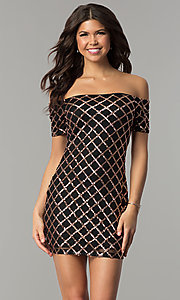 Sequin Black Holiday Party Dress with Short Sleeves