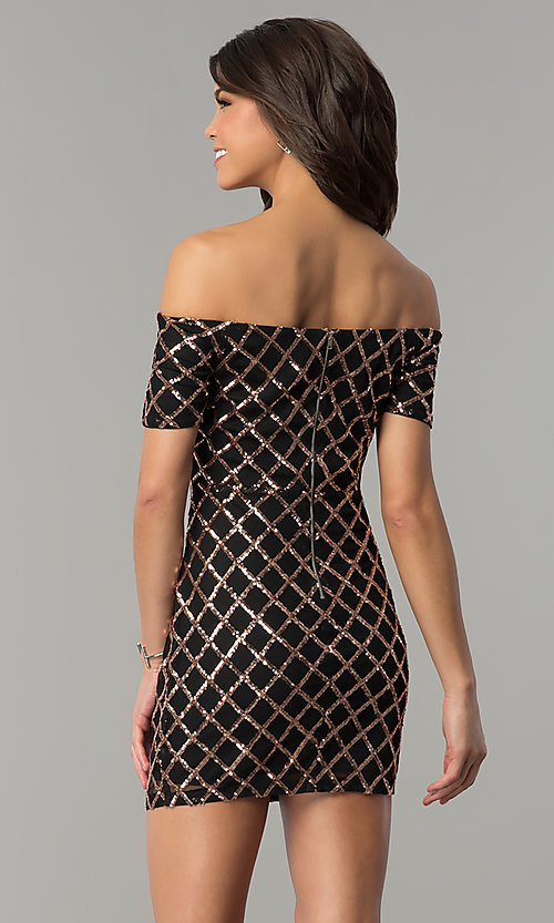Image of sequin black holiday party dress with short sleeves. Style: JTM-JMD8062 Back Image
