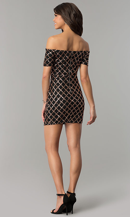 Image of sequin black holiday party dress with short sleeves. Style: JTM-JMD8062 Detail Image 3
