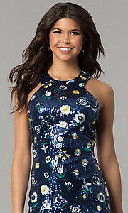 Image of short navy blue sequin party dress with embroidery. Style: JTM-JMD8333 Detail Image 1