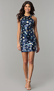 Image of short navy blue sequin party dress with embroidery. Style: JTM-JMD8333 Detail Image 2