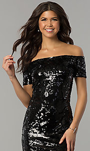 Image of short black sequined-velvet holiday party dress. Style: JTM-JMD7956 Detail Image 1