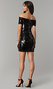 Image of short black sequined-velvet holiday party dress. Style: JTM-JMD7956 Detail Image 3