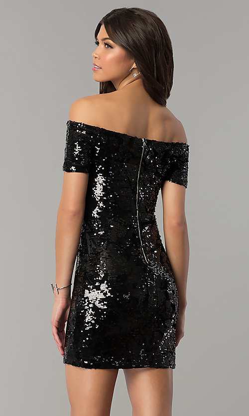 Image of short black sequined-velvet holiday party dress. Style: JTM-JMD7956 Back Image