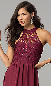 Image of long burgundy red lace-bodice prom dress. Style: SS-X35241H232 Detail Image 1
