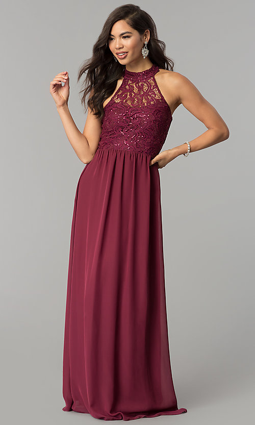 Image of long burgundy red lace-bodice prom dress. Style: SS-X35241H232 Back Image
