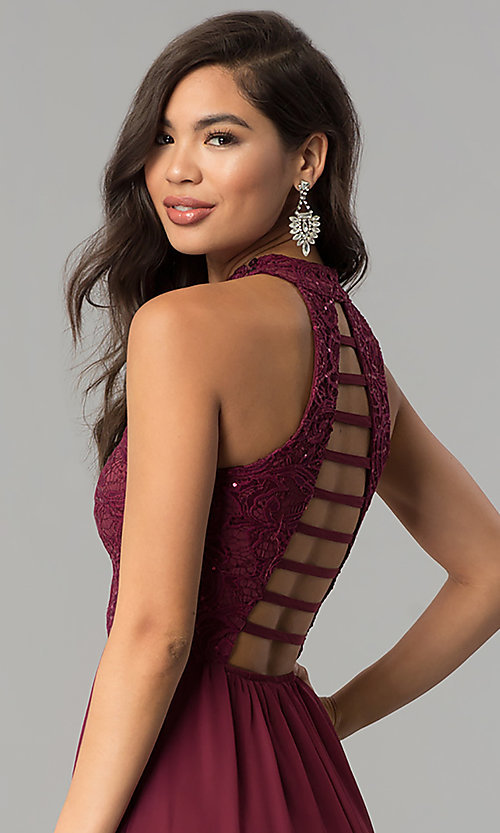 Image of long burgundy red lace-bodice prom dress. Style: SS-X35241H232 Detail Image 2
