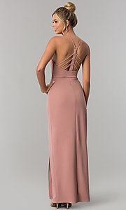 Image of mauve pink long jersey prom dress with side slit. Style: SS-X36021DPH Back Image