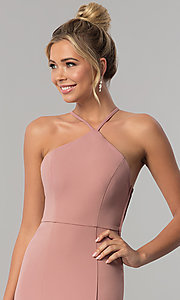 Image of mauve pink long jersey prom dress with side slit. Style: SS-X36021DPH Detail Image 1