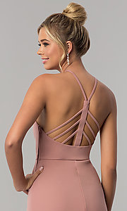 Image of mauve pink long jersey prom dress with side slit. Style: SS-X36021DPH Detail Image 2