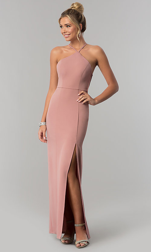 Image of mauve pink long jersey prom dress with side slit. Style: SS-X36021DPH Front Image