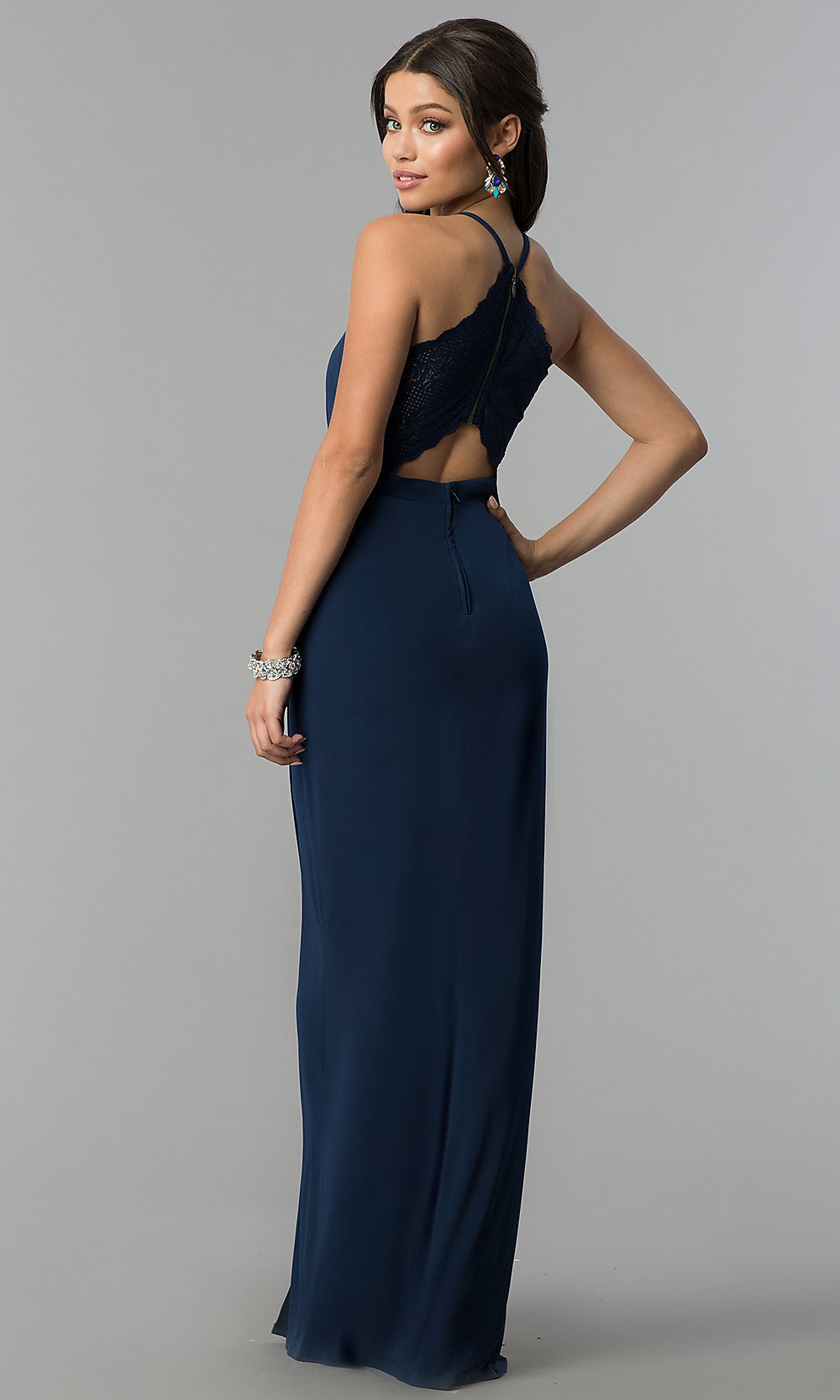5106a4dedb ... v-neck prom dress in dark navy blue. Style  SS. Tap to expand